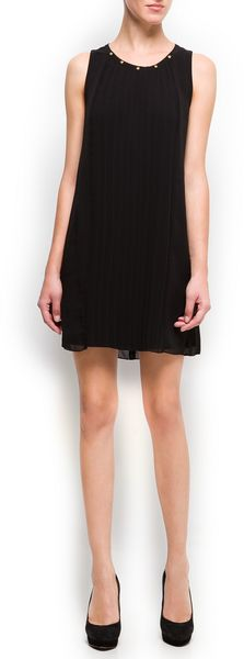 Mango Studded Pleated Dress - Lyst