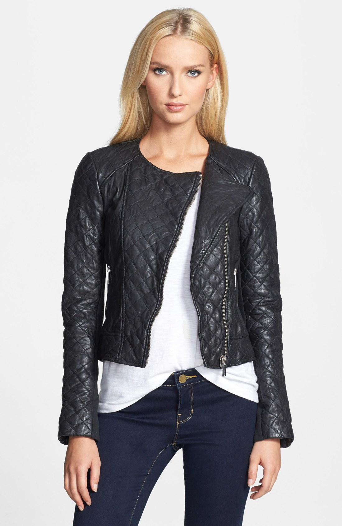 michael michael kors quilted leather ponte jacket in black. Black Bedroom Furniture Sets. Home Design Ideas