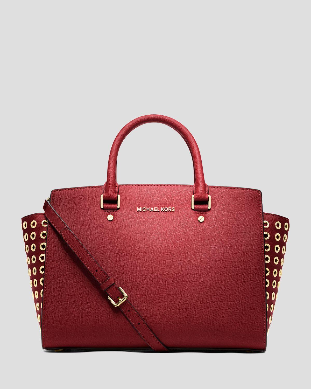 michael michael kors satchel selma grommet large in red lyst. Black Bedroom Furniture Sets. Home Design Ideas