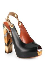 Missoni Leather Knit Slingback Platform Sandals - Lyst