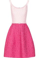 Oscar de la Renta Two Tone Cotton Blend Brocade Dress - Lyst