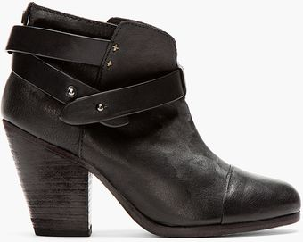 Rag & Bone Black Wraparound Strap Harrow Boots - Lyst
