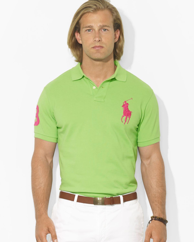 ... Ralph Lauren Men Custom-Fit Green Mesh Polo ...