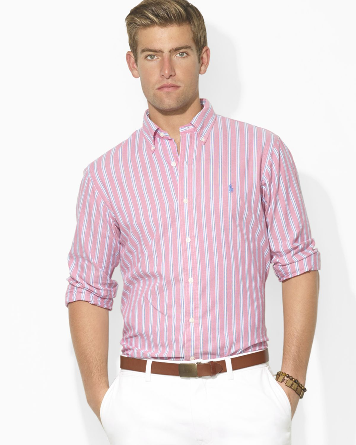 Lyst - Ralph lauren Polo Custom-fit Striped Oxford Sport Shirt in ...
