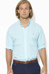 Ralph Lauren Polo Custom Fit Mini Checked Poplin Sport Shirt - Lyst