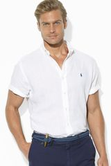 Ralph Lauren Polo Customfit Shortsleeved Solid Linen Sport Shirt - Lyst