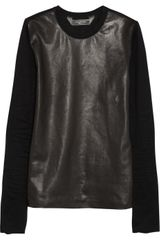 Reed Krakoff Leather Paneled Cotton Top - Lyst