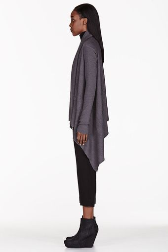 Rick Owens Grey Alpaca Shawl Hooded Wrap Cardigan - Lyst