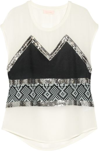 Sass & Bide Memory Lane Embellished Printed Silk Georgette Top - Lyst