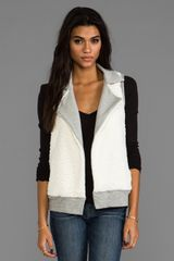 Splendid Faux Sherpa Vest in Gray - Lyst