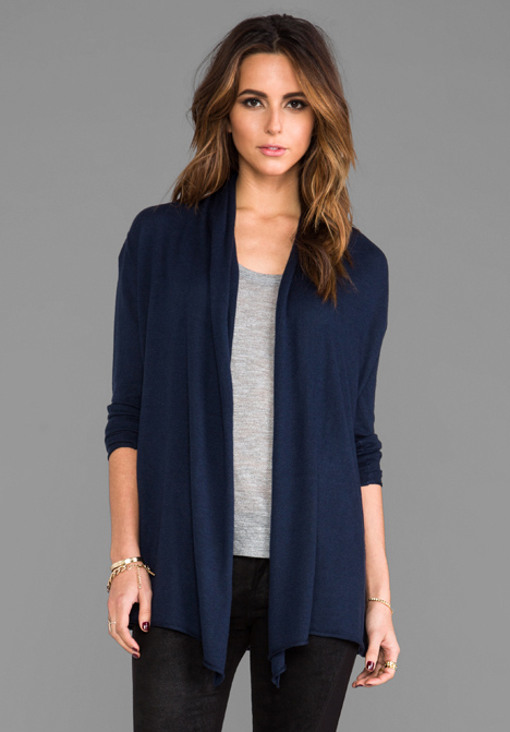 Navy Blue Long Cashmere Cardigan - Cardigan With Buttons