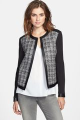 T Tahari Ruby Colorblock Faux Leather Trim Tweed Jacket - Lyst