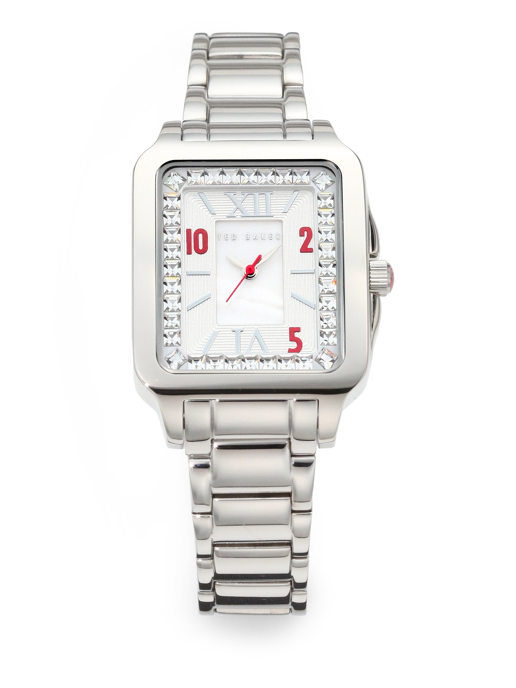 Ted baker rectangular stainless steel watch in silver lyst