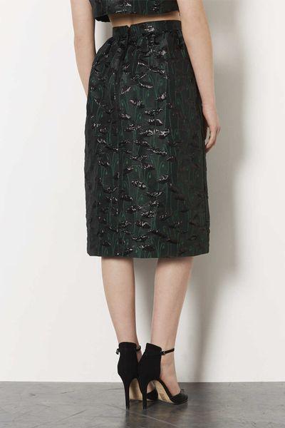 topshop green poppy midi skirt in green lyst