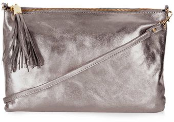 Topshop Crackled Metallic Zip Top Clutch - Lyst