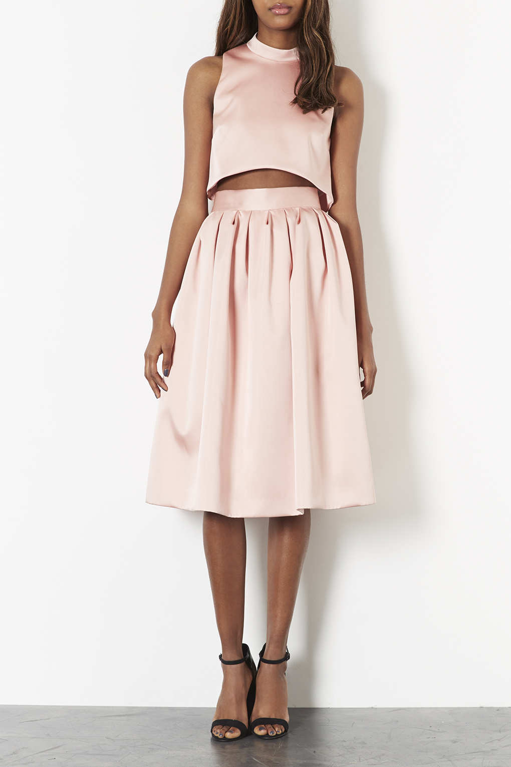 Topshop Limited Edition Duchess Satin Midi Skirt in Natural | Lyst