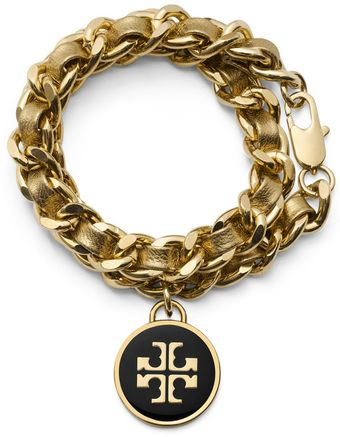 Tory Burch Metallic Leather And Chain Double Wrap Bracelet - Lyst