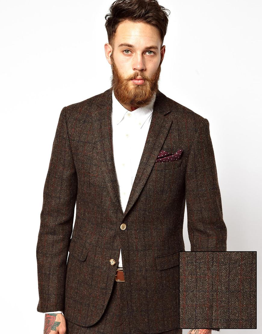 Asos Slim Fit Suit Jacket in Harris Tweed in Brown for Men | Lyst