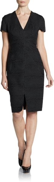 Zac Posen Jacquard V-Neck Sheath Dress - Lyst