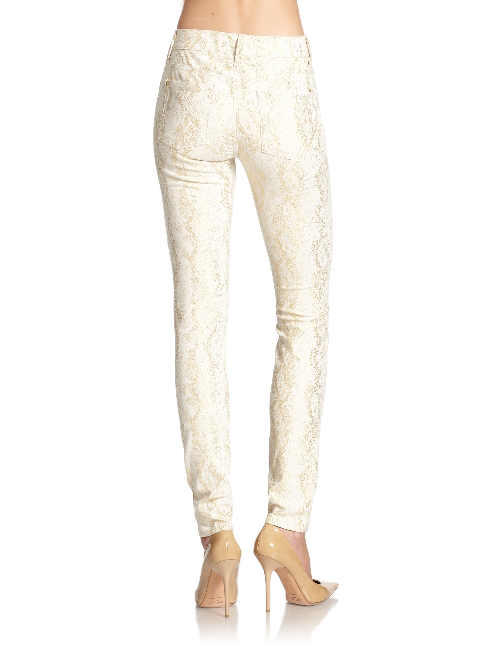 Lyst 7 For All Mankind The Skinny Metallic Snake Print