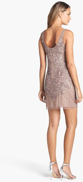 Adrianna Papell Embellished Mesh Tank Dress In Beige Buff