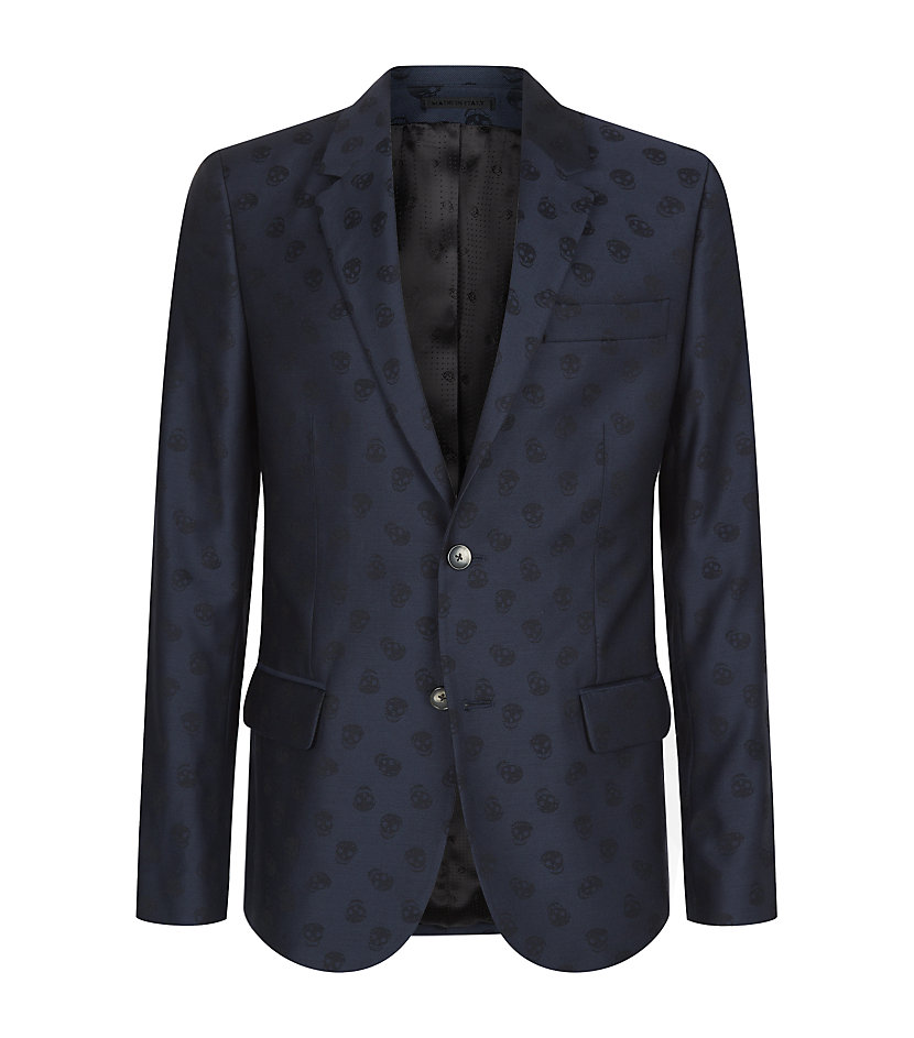 Alexander Mcqueen Jacquard Skull Jacket in Blue for Men | Lyst