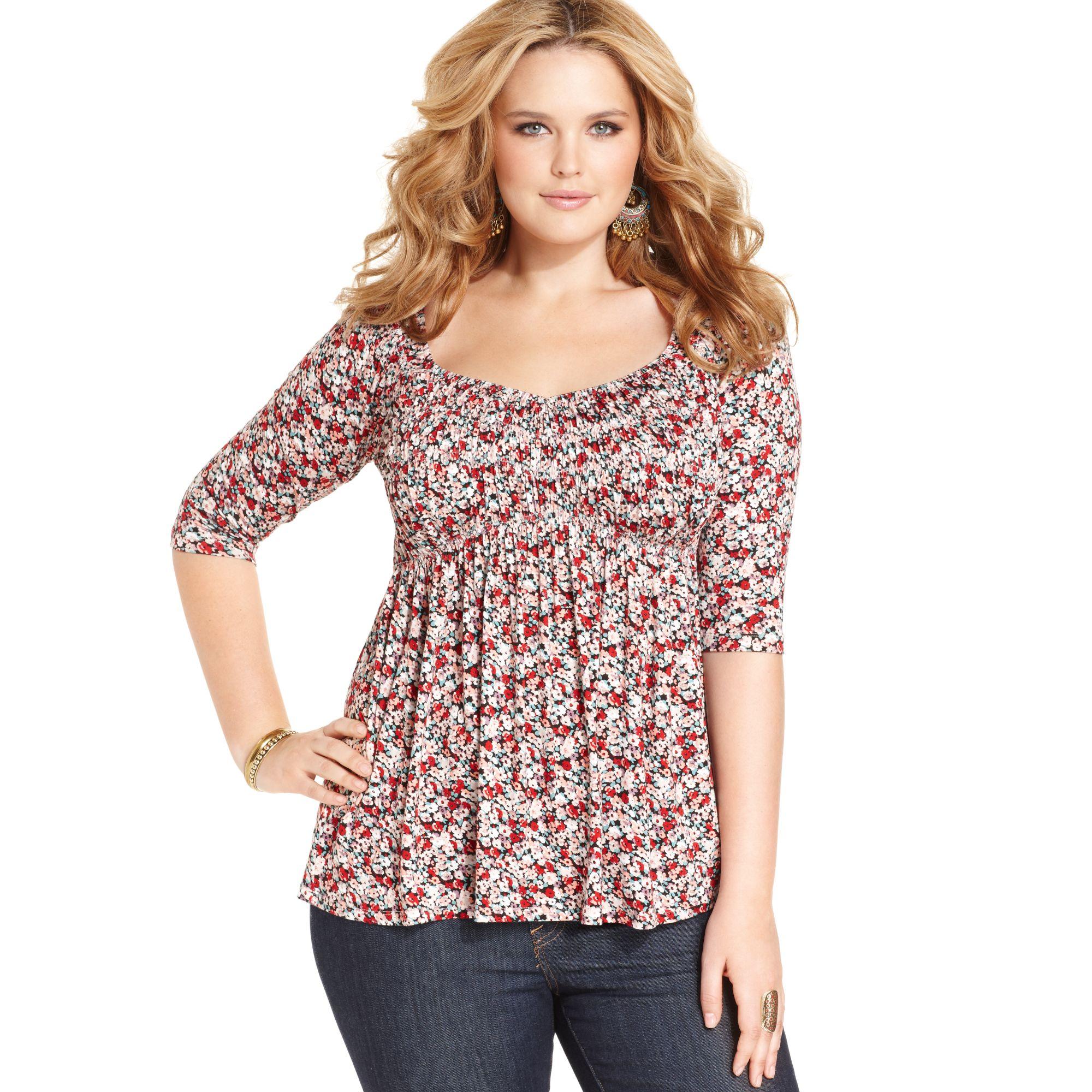american rag plus size three quarter sleeve floral print babydoll