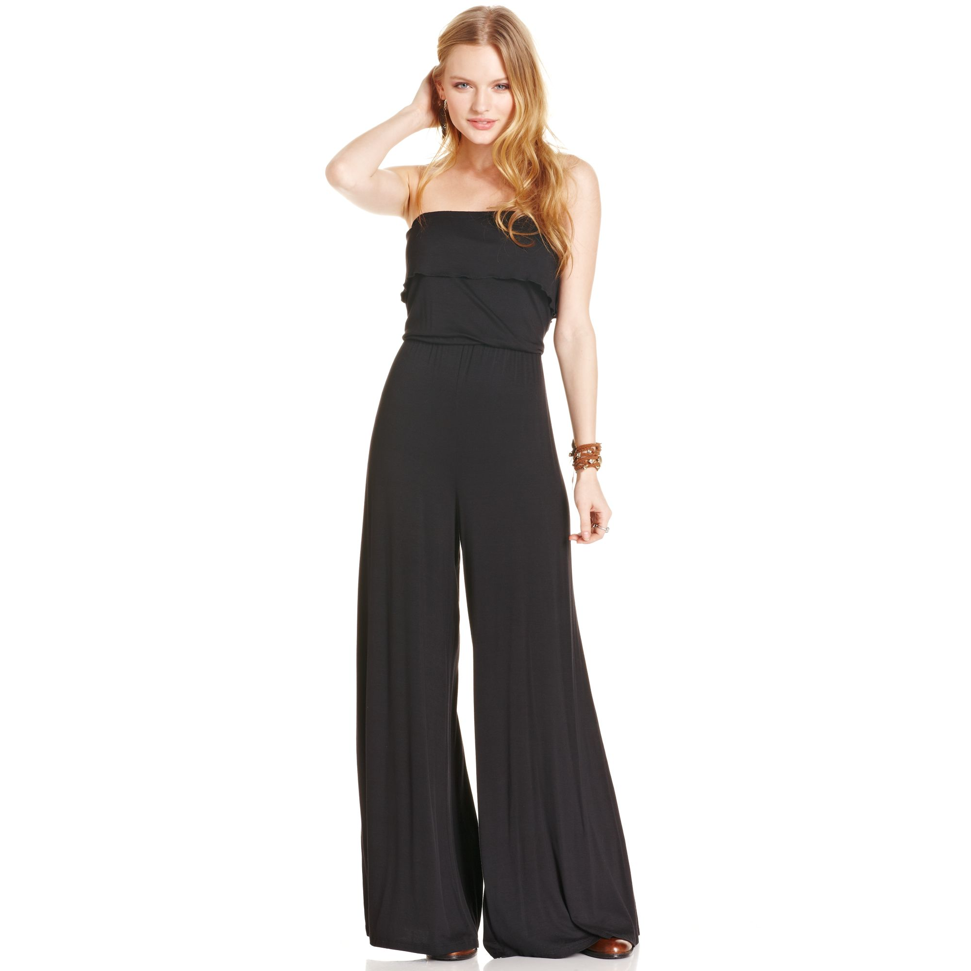 beaefc47a6f8 Lyst - American Rag Strapless Wide Leg Jumpsuit in Black