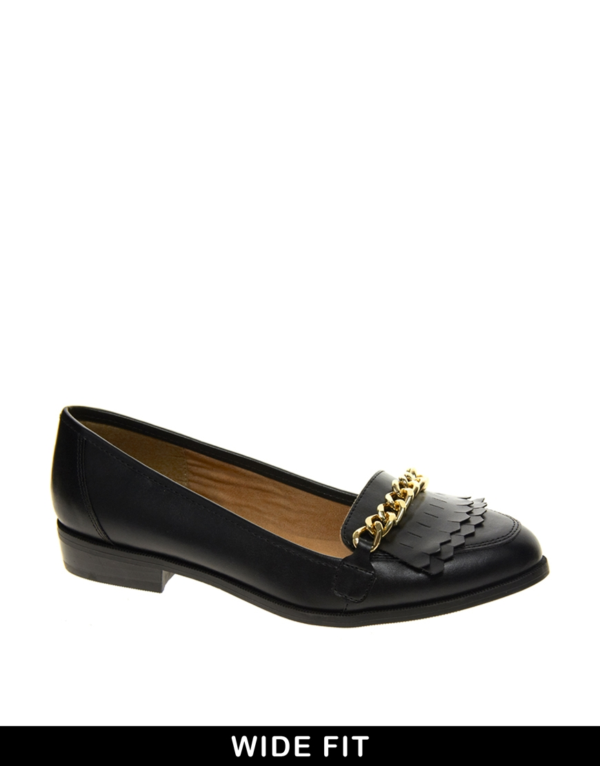 Asos New Look Wide Fit Black Klub Chain Loafer Shoes In ...