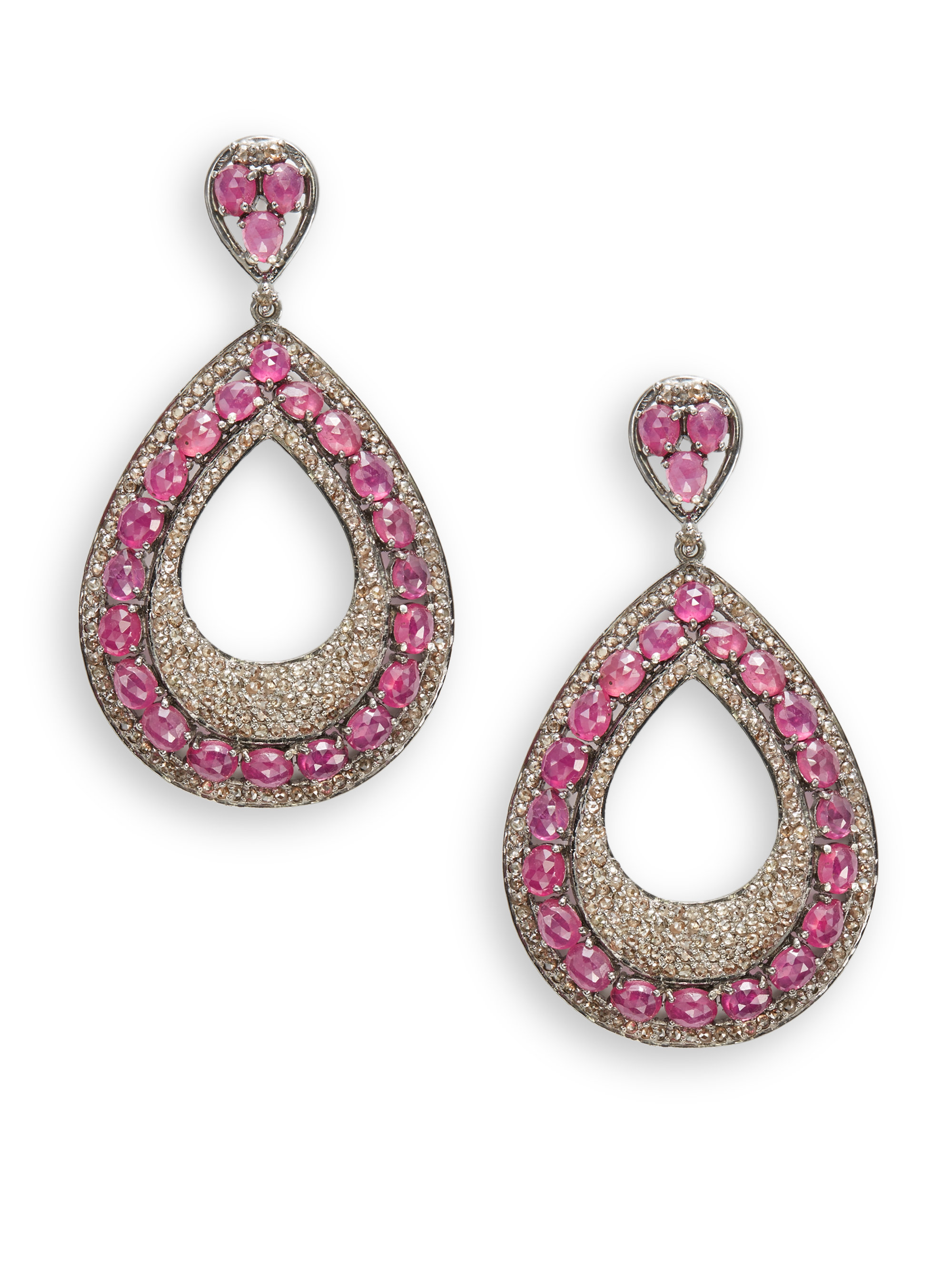 Bavna Faceted Ruby Pave Diamond Drop Earrings in Pink | Lyst