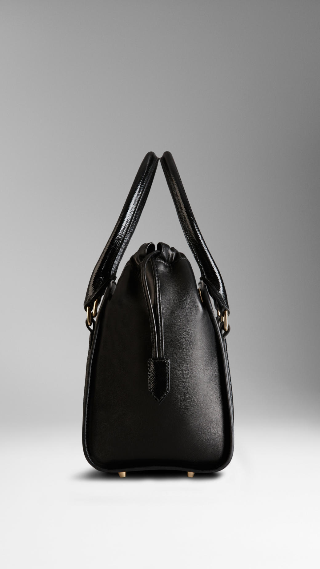 d16028fbba25 Lyst - Burberry Small Patent London Leather Tote Bag in Black