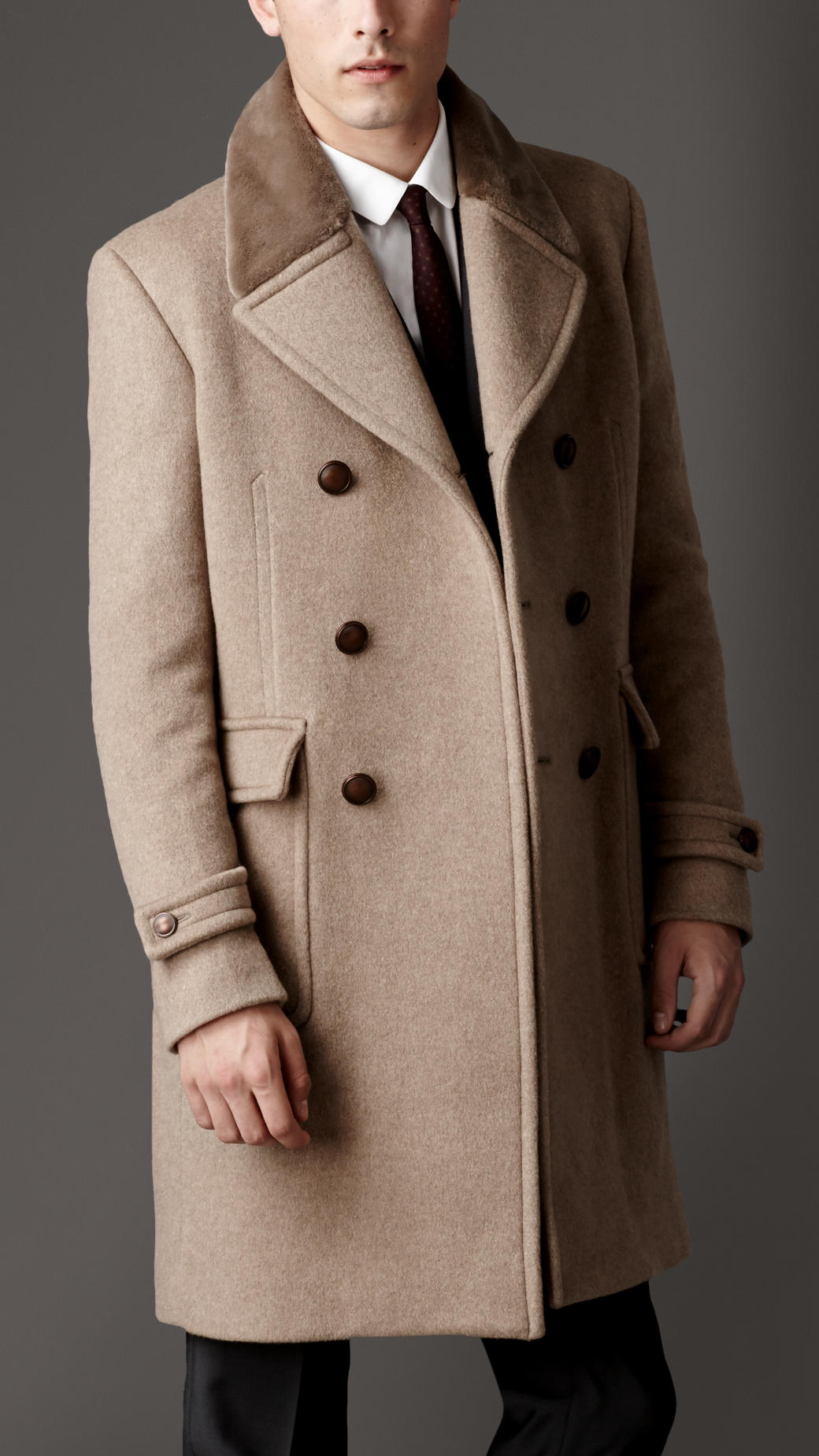 Burberry Mink Collar Cashmere Coat in Natural for Men | Lyst