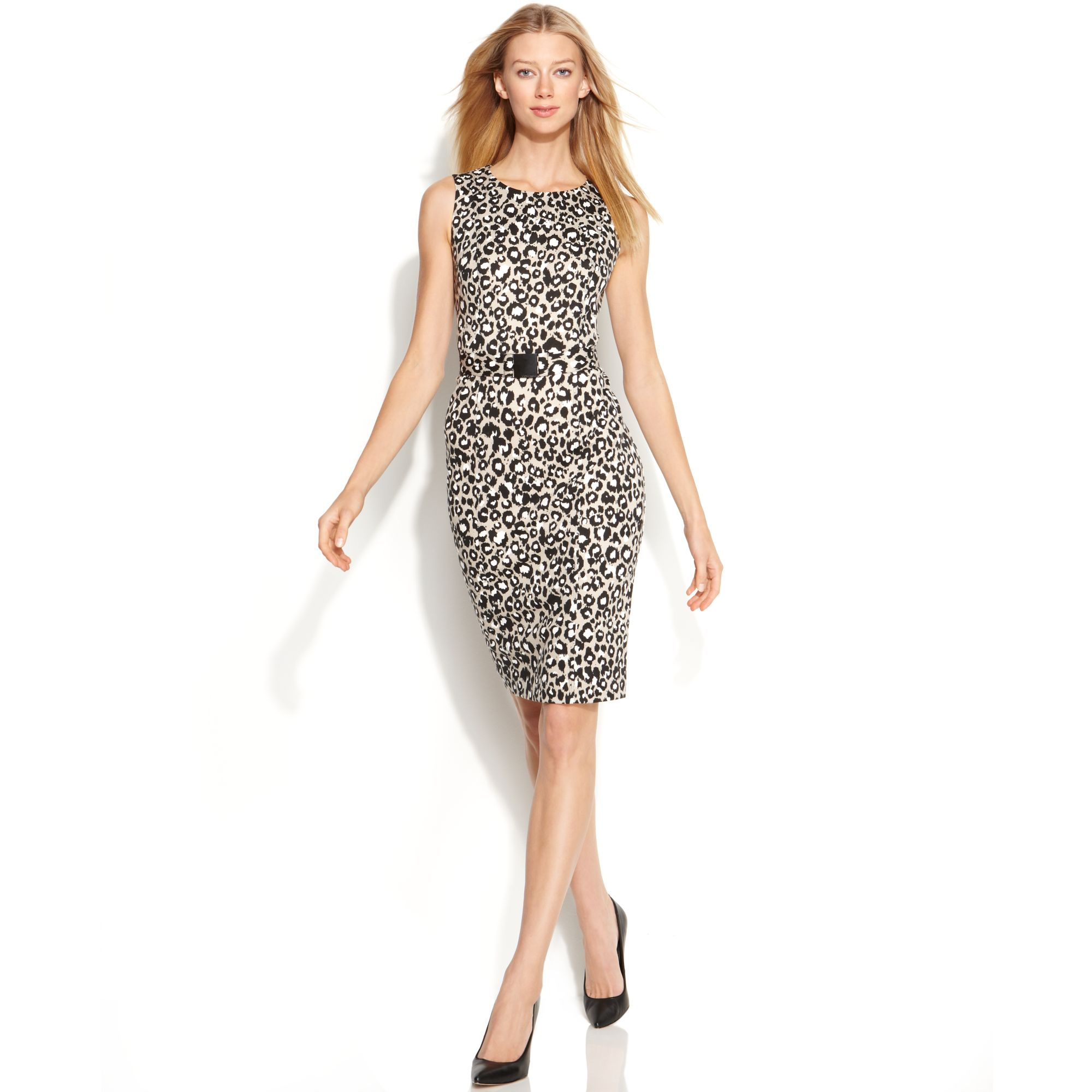 ffde39637ffde0 Lyst - Calvin Klein Sleeveless Leopard Print Belted Sheath Dress