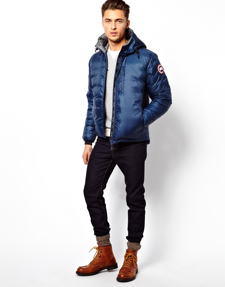canada goose blue lodge hoody down jacket