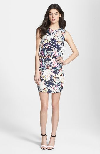 Dolce Vita Back Inset Print Silk Blouson Dress - Lyst