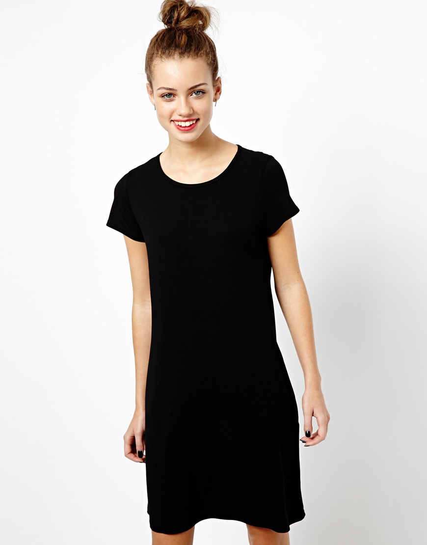 Eleven paris Jersey Cap Sleeve Tunic Dress in Black | Lyst