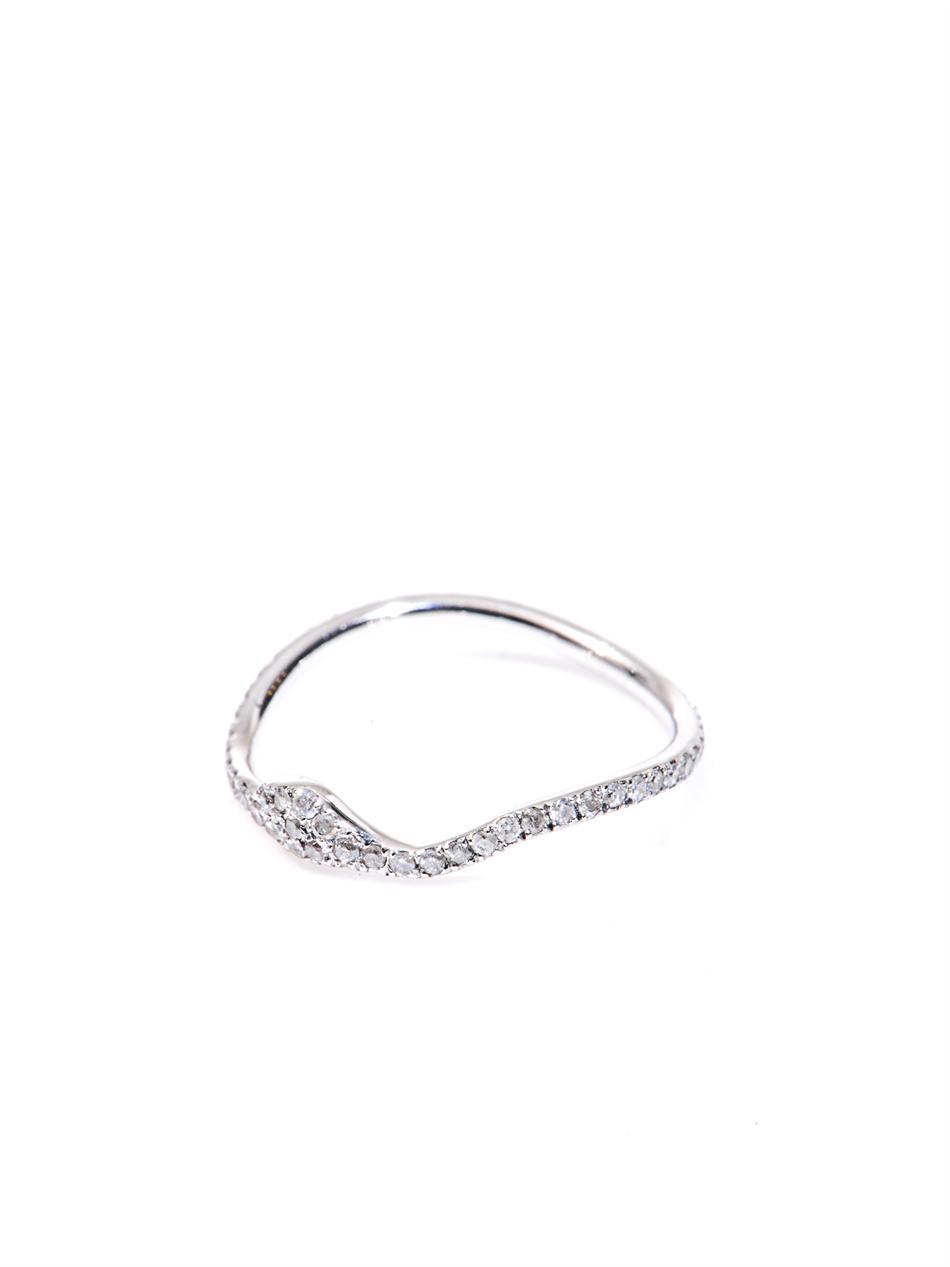 Elise Dray Diamond White Gold Snake Thumb Ring In White Lyst