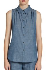Elizabeth And James Julia Cotton Chambray Silk Buttonfront Top - Lyst
