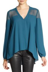 Elizabeth And James Karin Chiffondetail Hilo Hem Blouse - Lyst