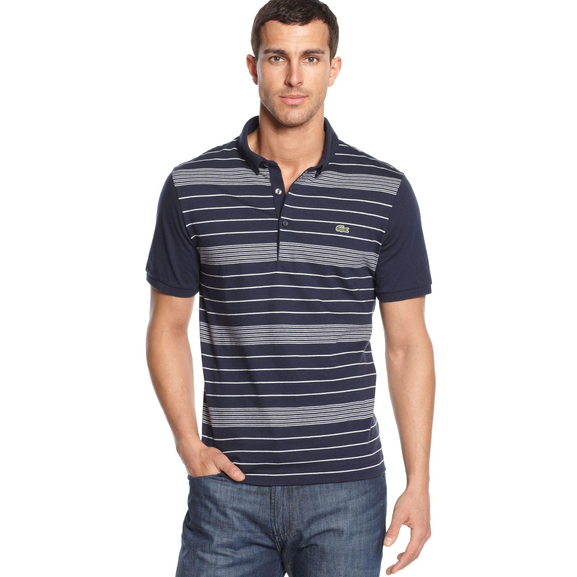 Lacoste short sleeve fine stripe polo shirt in blue for for Short sleeve lacoste shirt