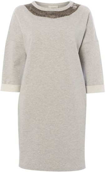 Linea Weekend Embellished Front Sweat Dress - Lyst