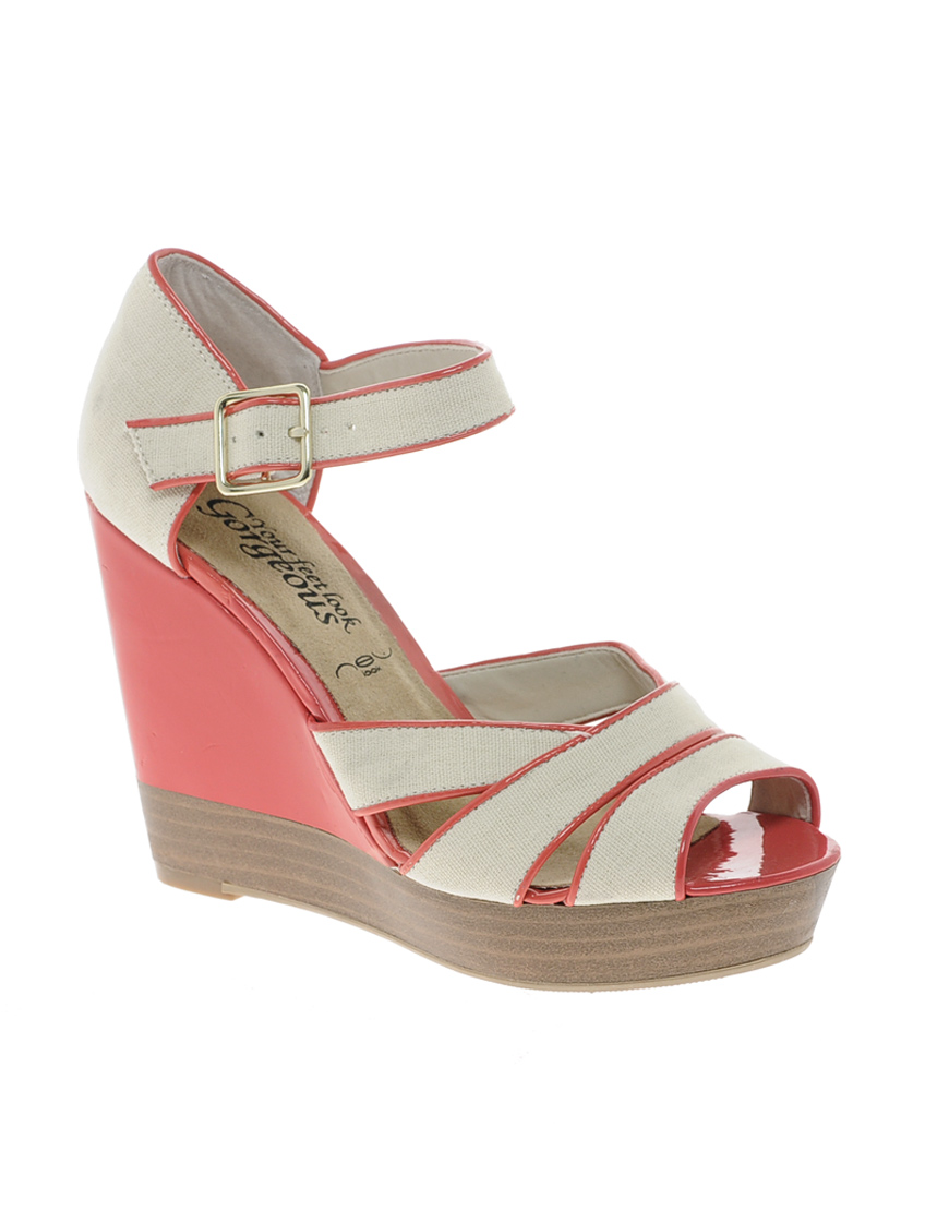 louise amstrup new look side 3 color block wedge sandals
