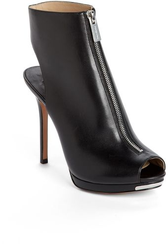 Michael Kors Brynn Leather Peep Toe Bootie - Lyst