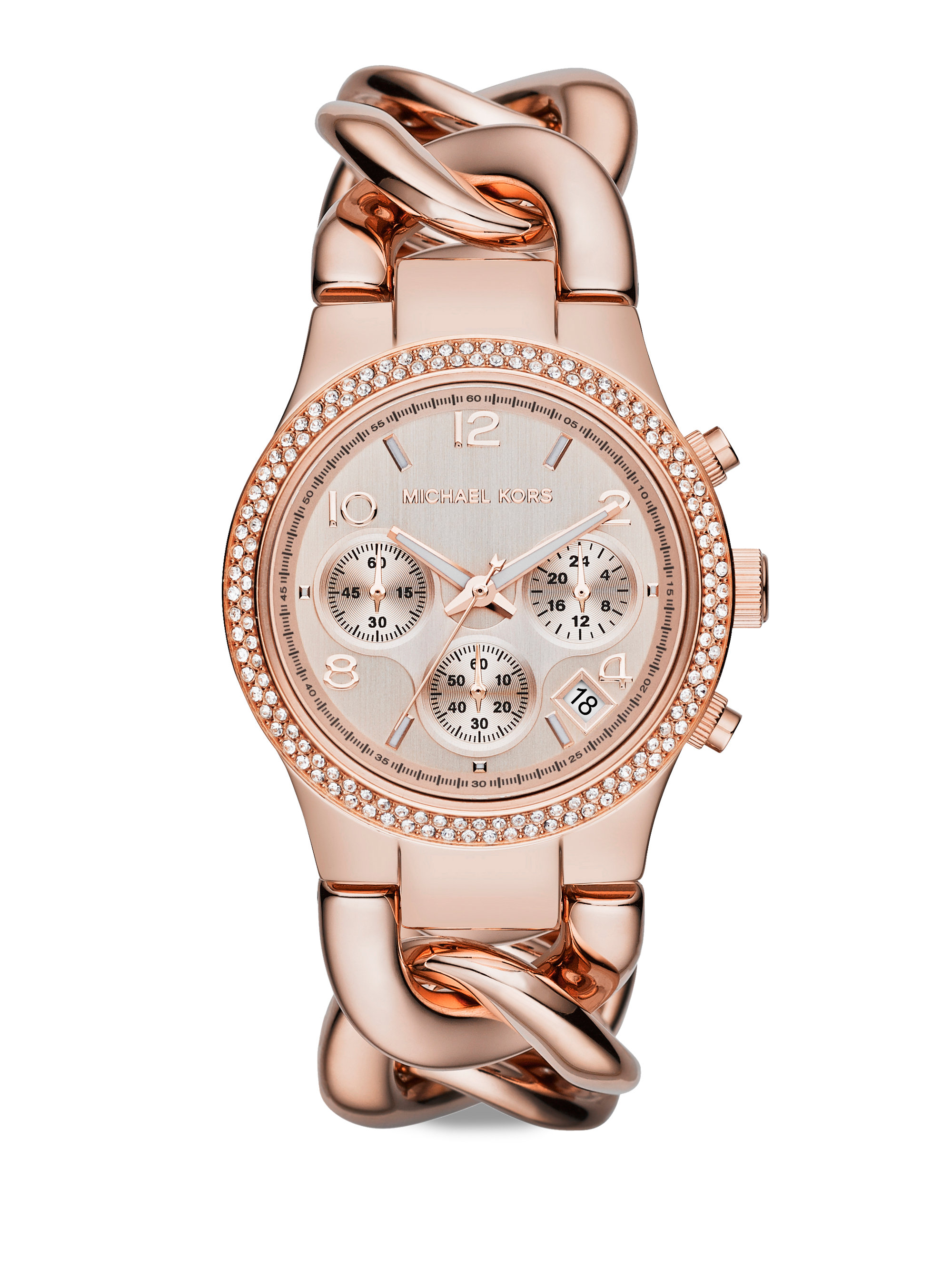 Michael kors runway twist rose goldtone stainless steel pav crystal chronograph bracelet for Watches michael kors