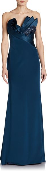 Notte By Marchesa Asymmetrical Pleated Silk Gown - Lyst