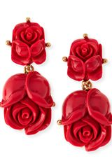 Oscar de la Renta Double Rose Clipon Earrings Amaranth - Lyst