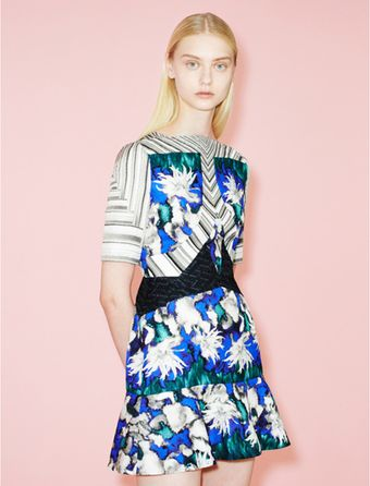 Peter Pilotto Elizabeth Printed Silk Cloque Dress - Lyst