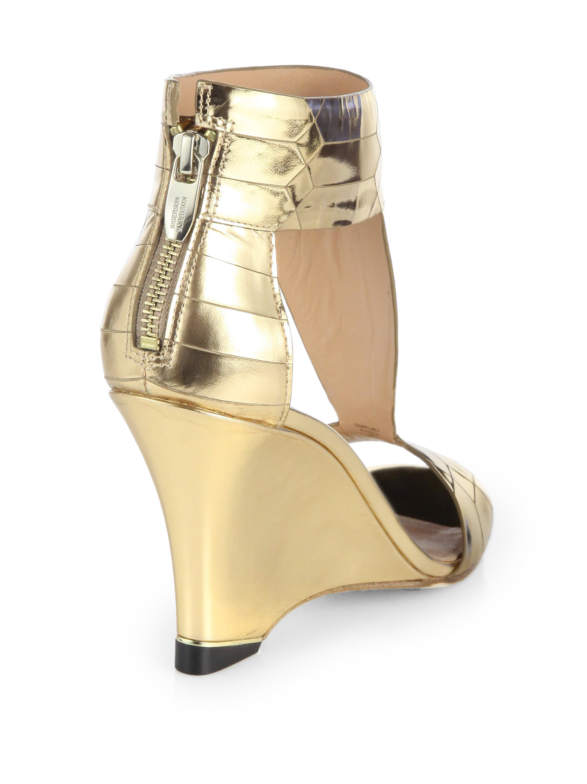 Lyst Sigerson Morrison Ruby Gold Metallic Leather Wedge