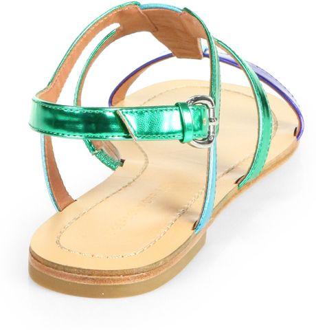Sigerson Morrison Kimora Metallic Strappy Flat Sandals In