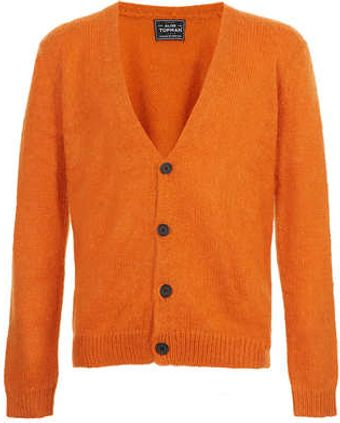 Topman Orange Cardigan with Mohair - Lyst
